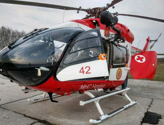 Демонстрация проводилась на вертолете Eurocopter EC145 МЧС Украины